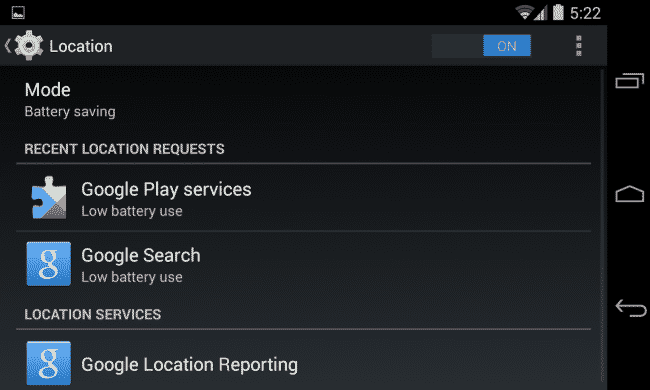 android-choose-location-mode, use less battery google play services location settings