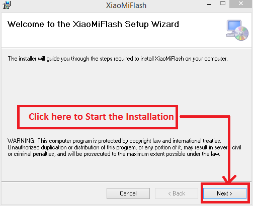 XiaMiFlash Setup Wizard Welcome Screen., mi-flash-installation-guide-and-free-direct-download