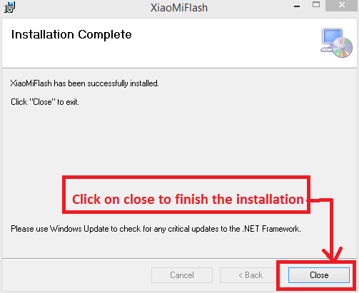 install mi flash tool - hurray! finished!