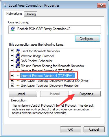 Internet Protocol Version 4 (TCP-IPv4) - change DNS settings
