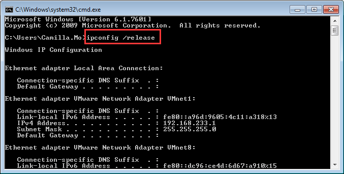 ipconfig-ip release, dns probe fix