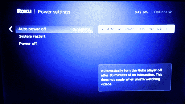 how to turn roku off via settings
