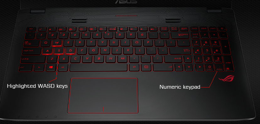 ASUS ROG GL552VW Backlit Keyboard and Highlighted WASD Keys with Dedicated Numeric Pad