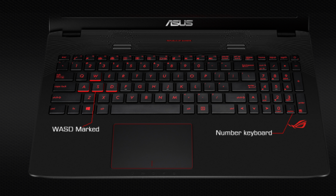 ROG GL752 Backlit Keyboard and Marked WASD Keys