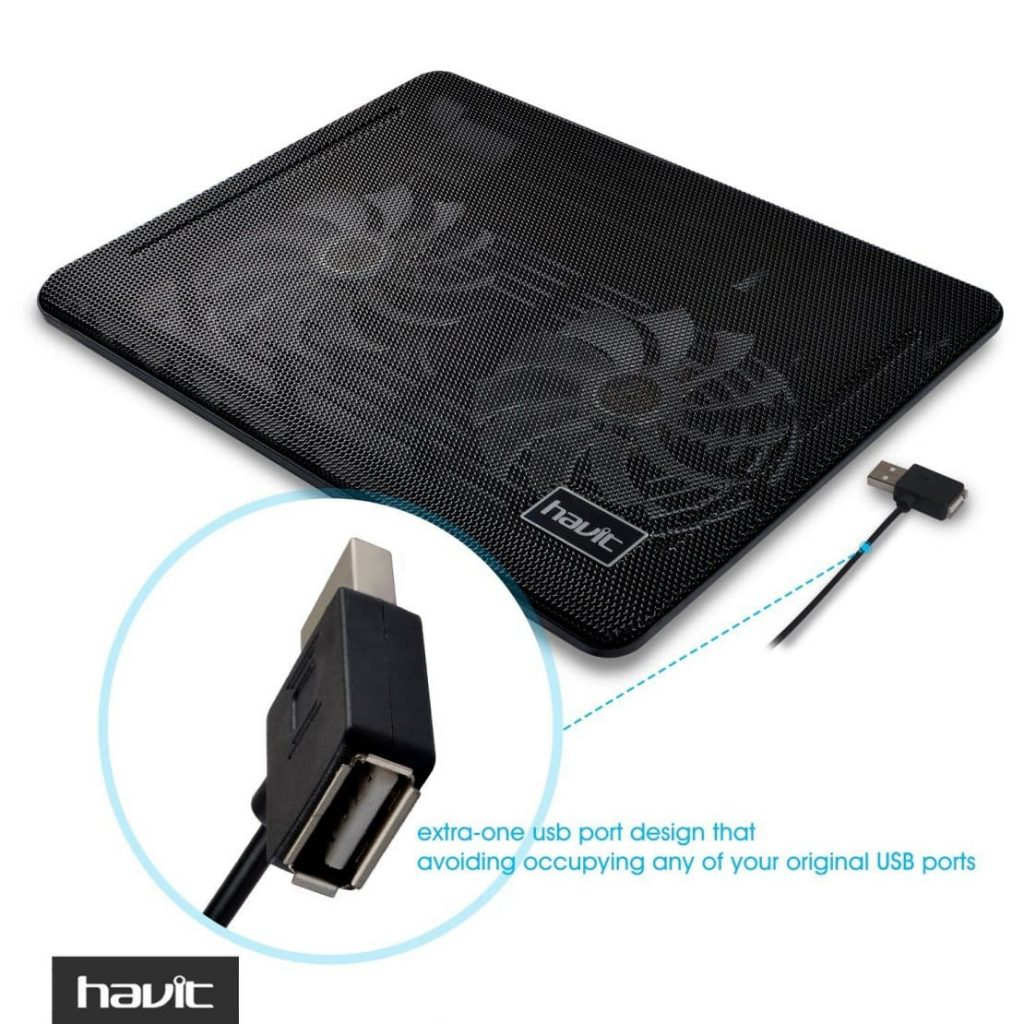 HAVIT HV-F2033 Super-slim Laptop Cooler Cooling Pad (2 Fans) - Extra USB Port