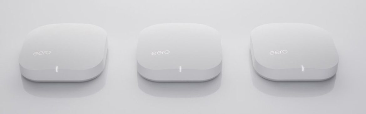 Image of Three eero wifi routers.