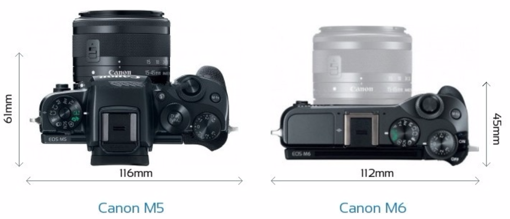 Canon-EOS-M5-vs-Canon-EOS-M6-top-view-size-comparison