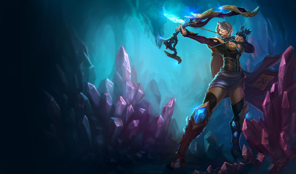 An image of Ashe in Amethyst skin. This image is attached to an article that teaches how to counter Ashe.