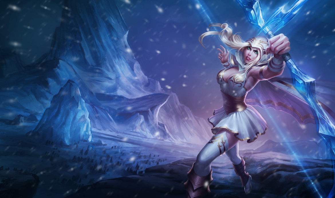 An image of Ashe in Freljord skin. This image is attached to an article that teaches how to counter Ashe.