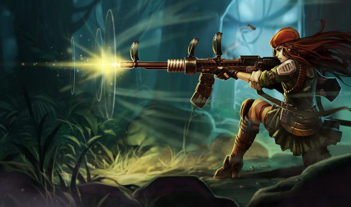 An image of Caitlyn in her Resistance skin. Image attached to a tutorial outlining simple ways on how to use Caitlyn counter tips to beat her in any lane.