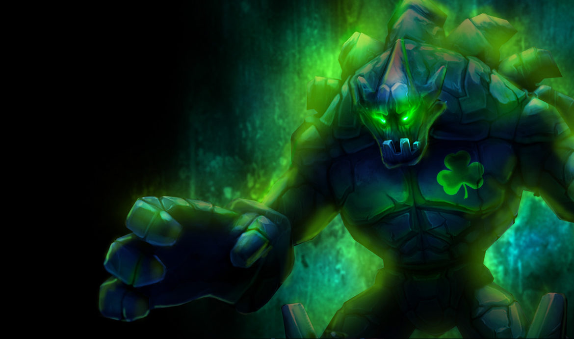 An image of Malphite in his Shamrock skin. Image attached to an article that guides you on how to become an effective Malphite counter.
