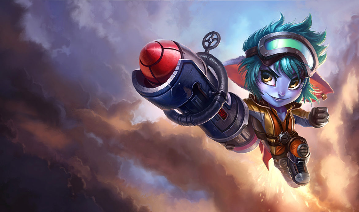 Tristana in her Rocket Girl Skin. This image is part of a tutorial that teaches you how to counter Tristana using tips to formulate strategies.
