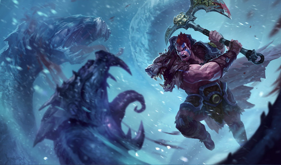 Darius in his Woad King Skin. This image is attached to an article outlining how to use specific champions to counter Darius.