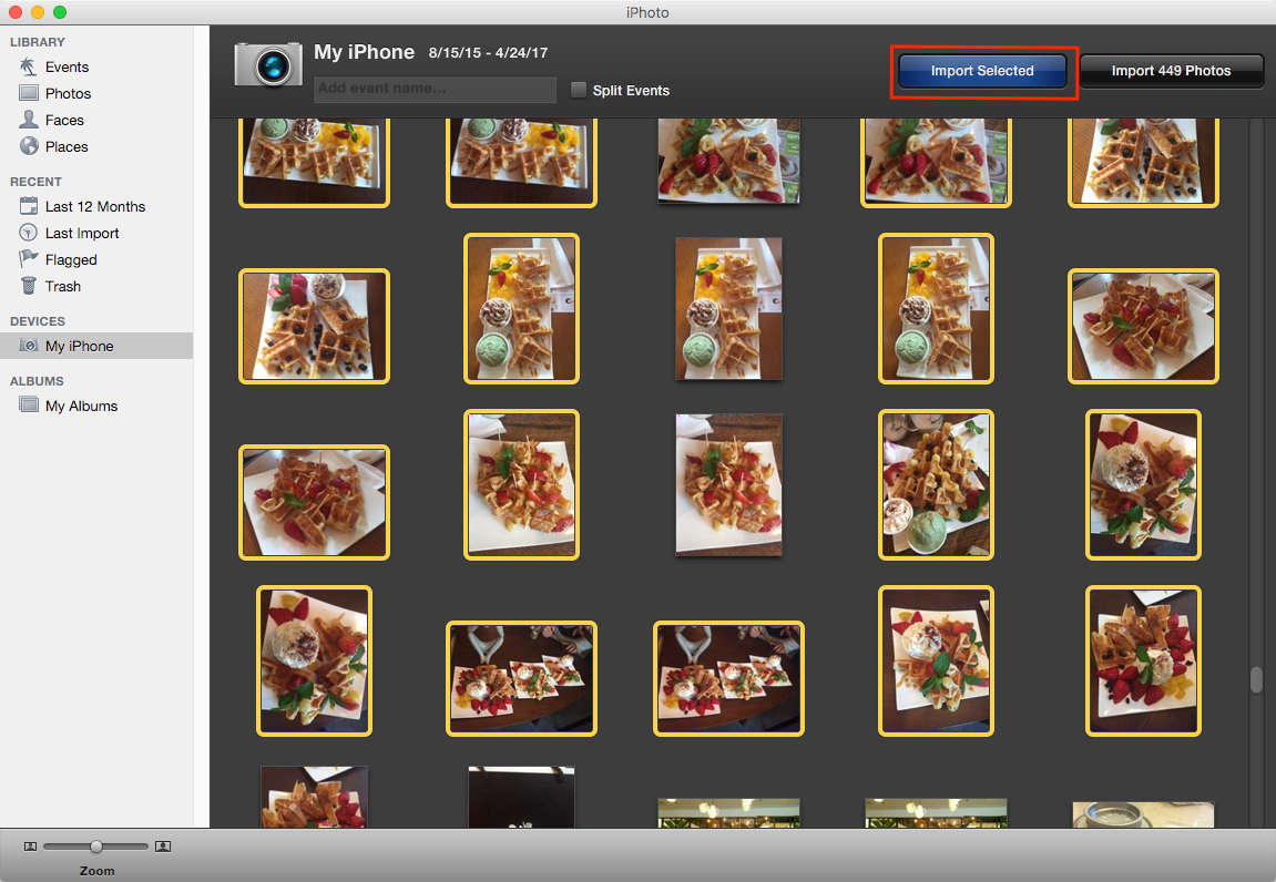 A picture illustrating how to upload photos from iPhone to Mac using the iPhoto application on Mac computers.
