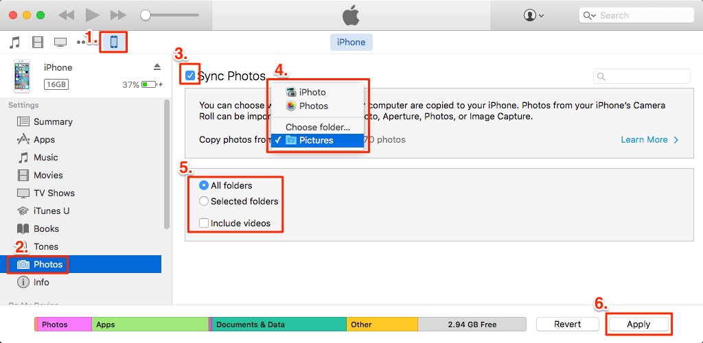 how to transfer pictures from iphone to iphone via iTunes