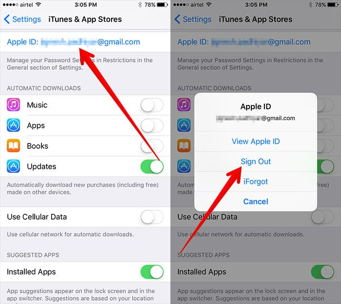 iphone won't connect to app store, sign out of iTunes