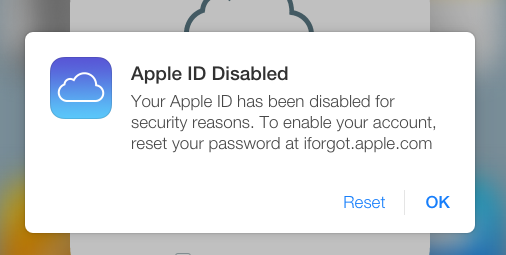 "An Images Showing The Onscreen Message ""Apple ID Disabled"""