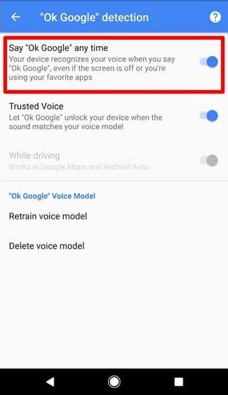 toggle the switch to turn off Ok Google