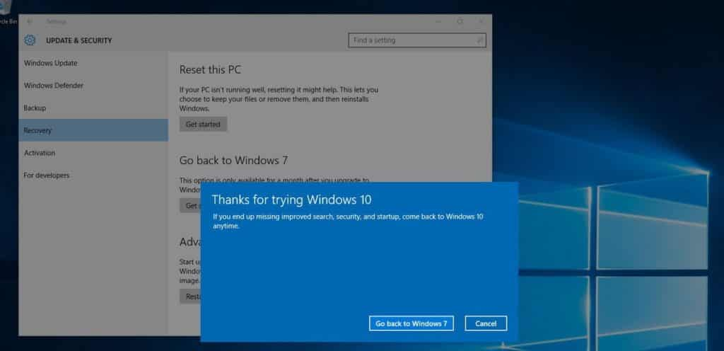 Final verification to go back to Windows 7