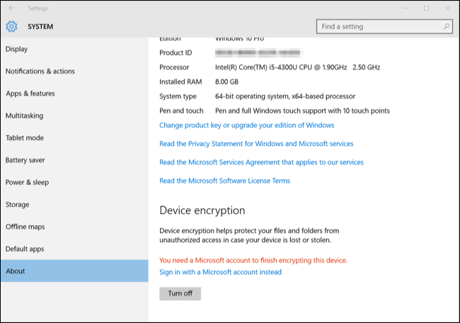 encrypt windows 10 by signing in with your microsoft account