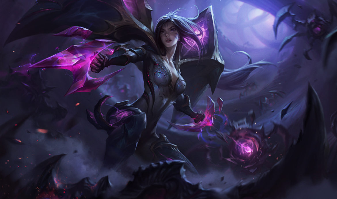 This image of Kai'Sa in her normal skin is attached to an article that details how to counter Kai'Sa in LOL.