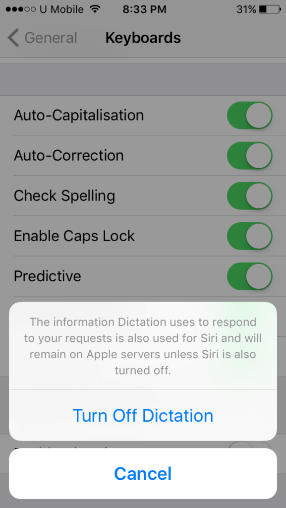 disable dictation message iOS