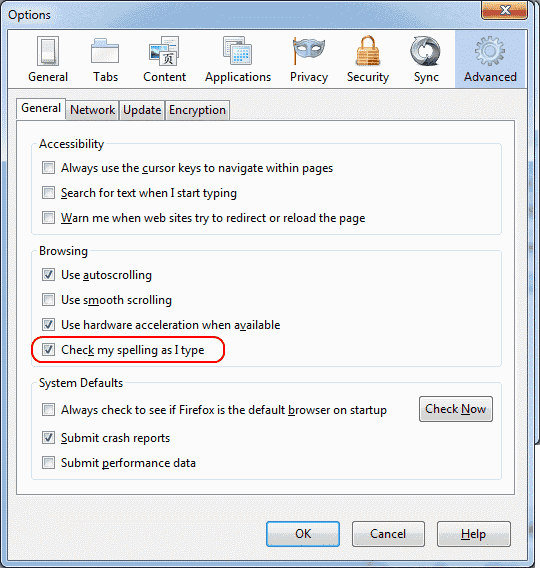 Firefox-spellcheck-option-enable-disable-options