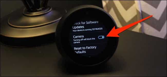 how to disable camera on echo dot