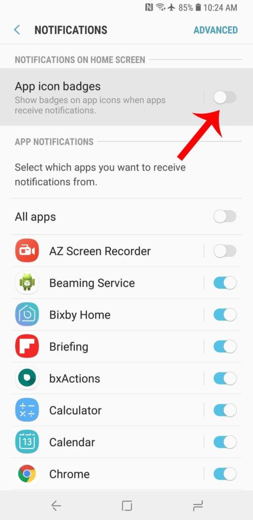 turn-off-app-icon-badges-unread-counts-on-galaxy-s9-via-settings