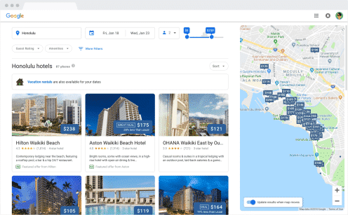 "Search results page with queries featuring a city and ""hotel"" appear in card.  Viewing all the hotels on the list or expanding the map will yield a full screen page where rounded boxes with thin outlines are present throughout from the map to cards for hotels."