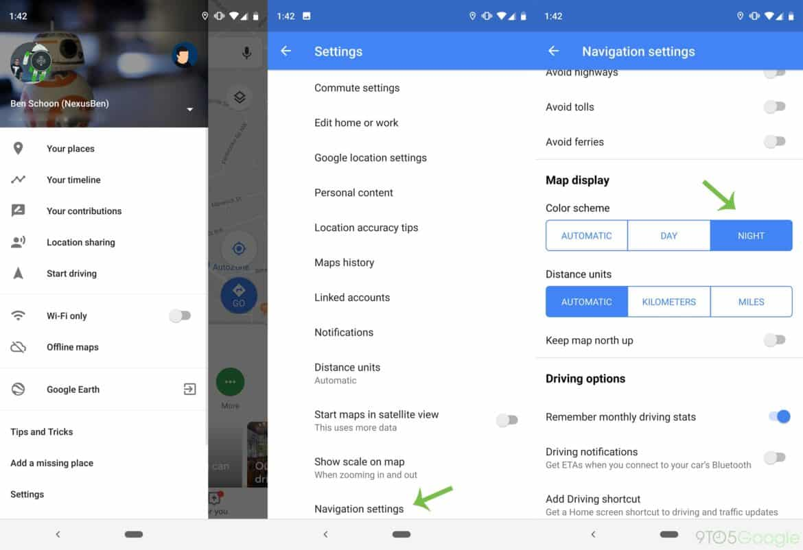 How To Use Dark Mode On Google Maps Navigation For Android.