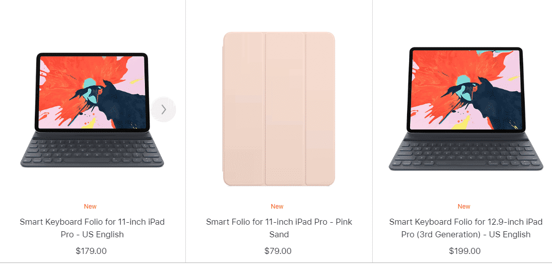 An image of the latest iPad Pro cases by Apple. Some cases work with Keyboards while others are simple case holders that do not have keyboards.