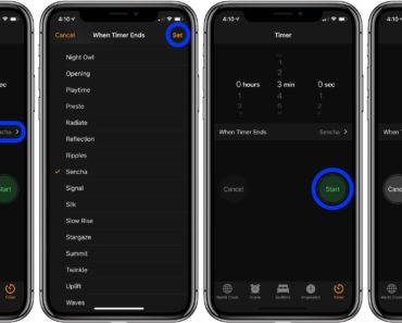 An image showing how to set a timer on iPhone or iPad.