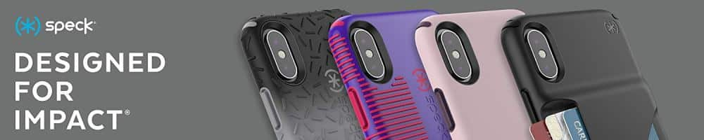 An image illustrating Speck iPhone XR Cases designs and colors.