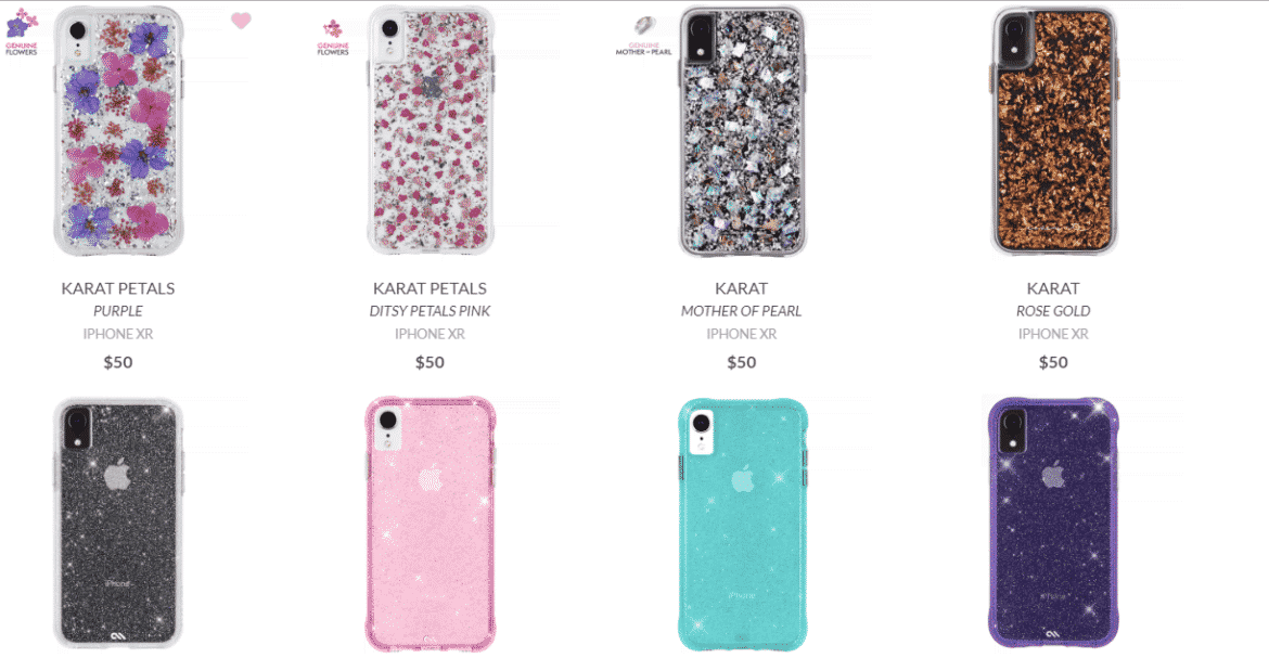 Am image of the decorative cases offered by Case-Mate for iPhone XR smartphones.