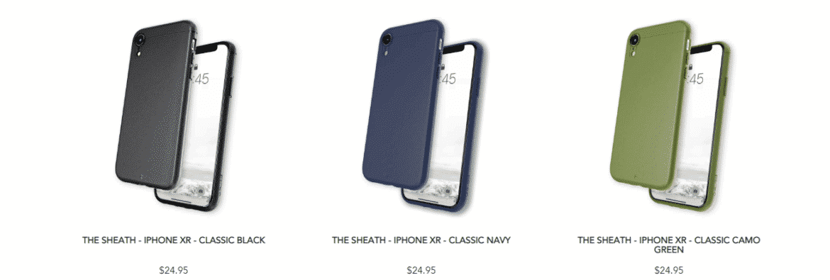 An image of Caudabe's line of iPhone XR cases.