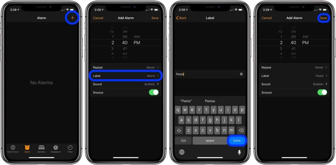 An image showing how to set an alarm on iPhone in order to get around the current one timer at a time setting.