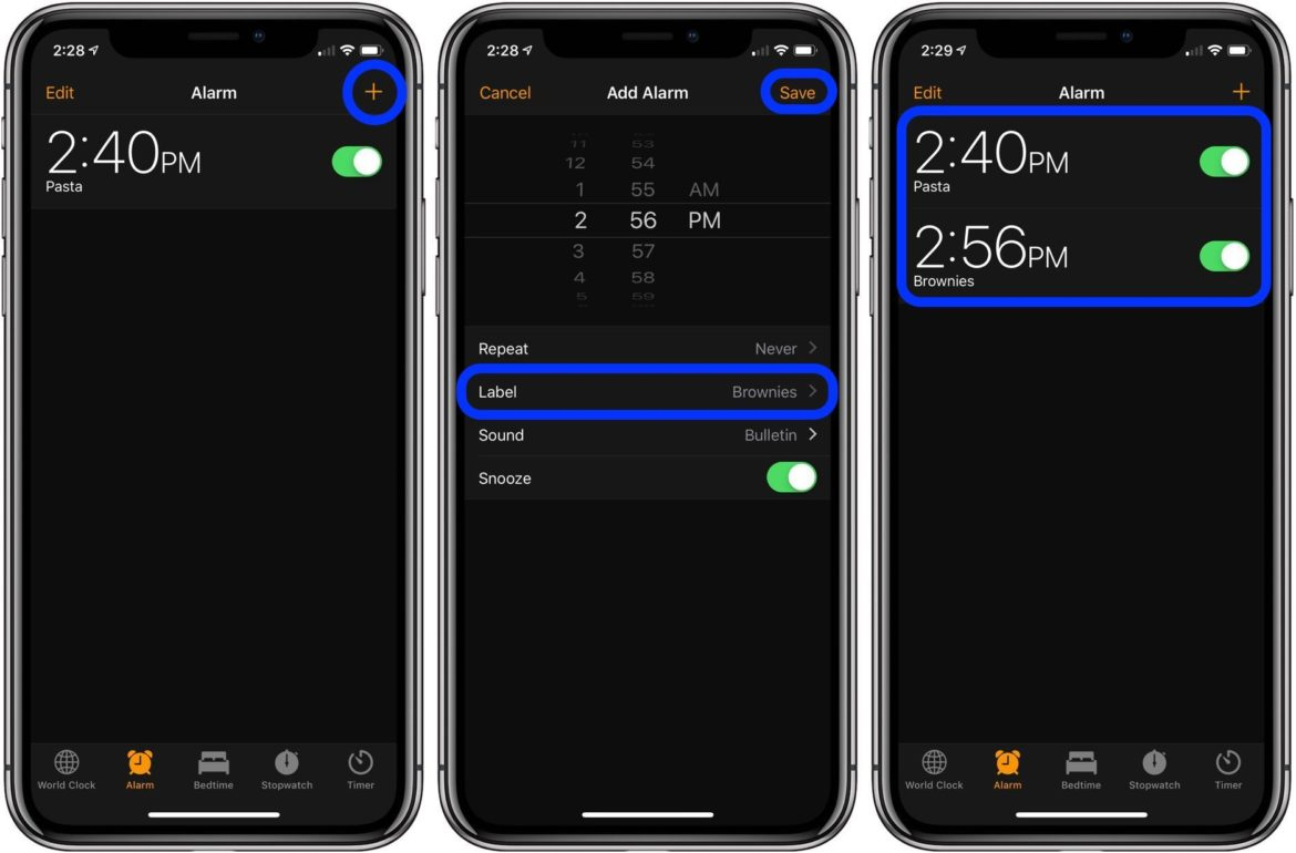 An image showing how to set multiple timers on iPhone by using the Alarm feature as a workaround.