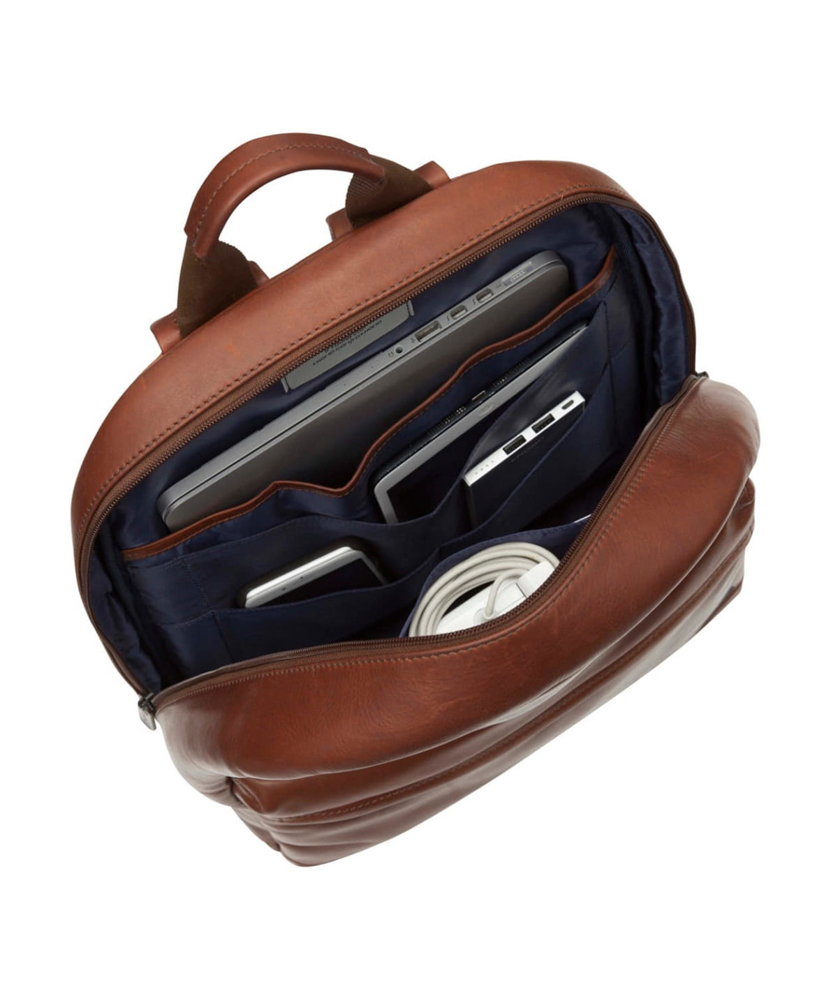 Knomo London Leather Laptop Bag as seen in this image carrying a tablet, charging cable, smartphone, and computer.