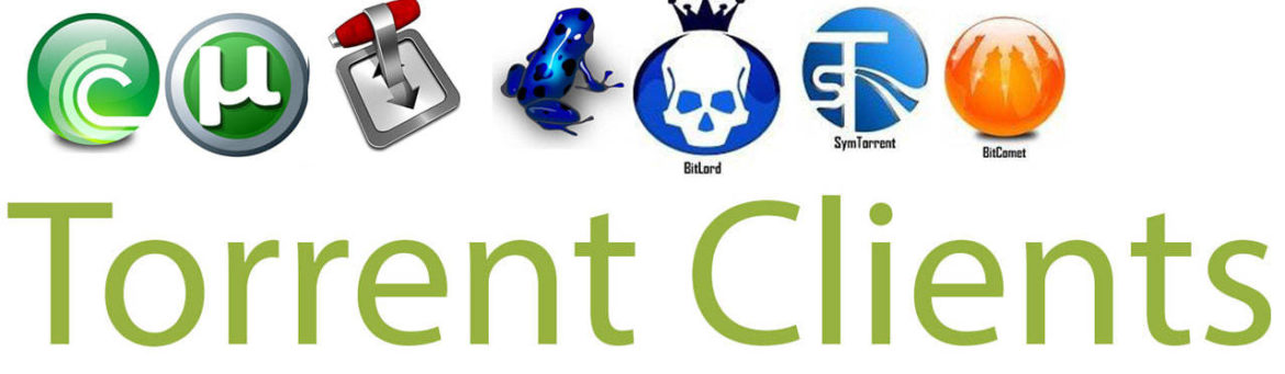 An image of different torrent clients. Image part of an article that details the 6 best torrent clients available for Windows, Mac, Android, Linux, and iOS.