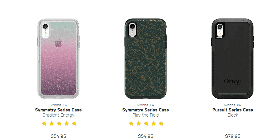An image of the symmetry & pursuit series of cases for the iPhone XR by OtterBox.