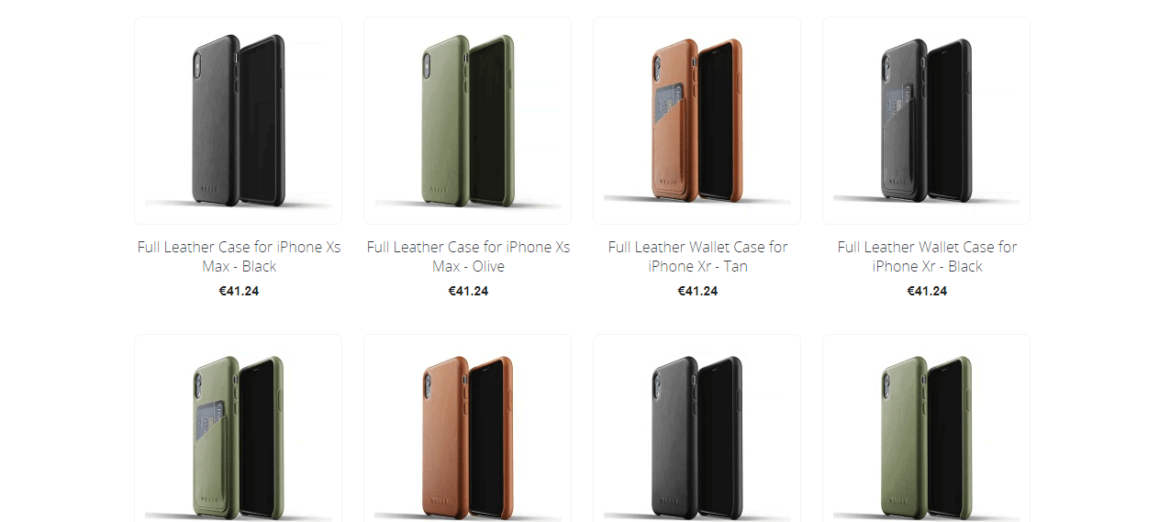 An image displaying some of Mujjo's full leather cases for the iPhone XR.