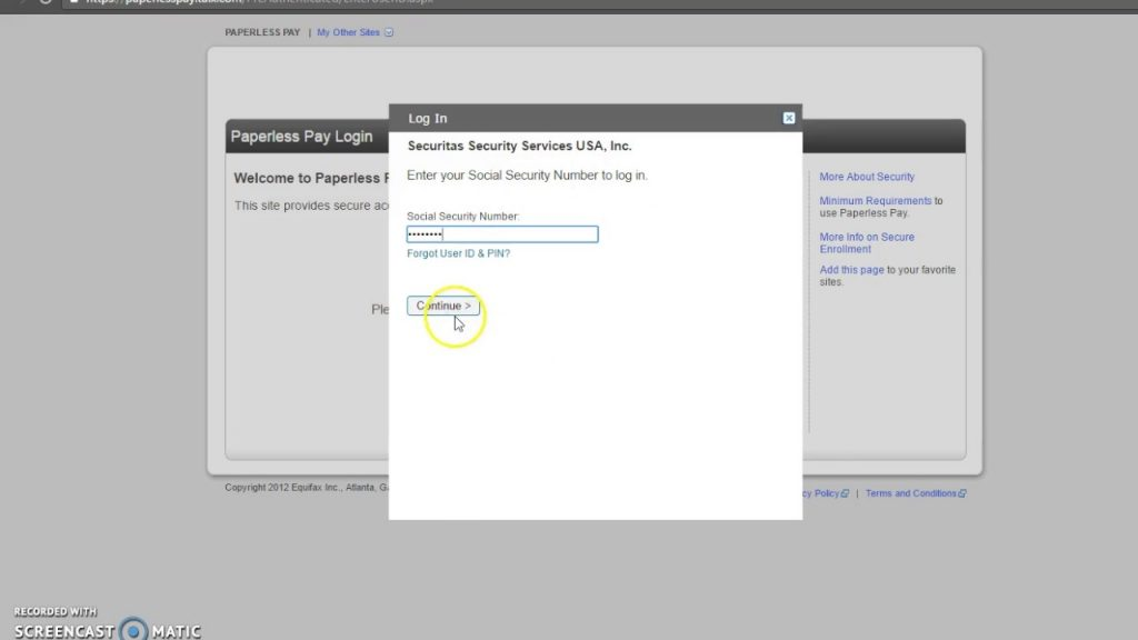 Securitas ePay login via social security number
